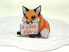 Fox brooch FREE SHIPPING love fox pin Animal by Lanaworkshop