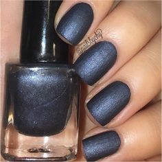 "P•O•P Polish Indie Nailpolish Nail Mirror ""Dark Denim."" ($8) ❤ liked on Polyvore featuring beauty products, nail care, nail polish, shiny nail polish and glossy nail polish"