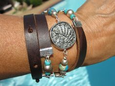 Endless Leather Wrap  TRIBES  Coin Medallion  by fleurdesignz, $42.00