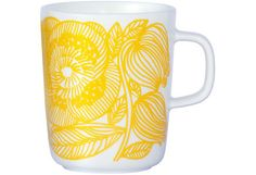 Marimekko Geranium White/Yellow Mug Wake up on the bright side when you use this cheery mug to sip your morning tea or cup of joe. Adorned with Aino-Maija Metsola's Kurjenpolvi (Geranium) pattern in a sunny shade of yellow, this smooth-l. Marimekko, Home Decor Items, Home Decor Accessories, Kitchen Accessories, Yellow Mugs, Willow Green, Metal Chairs, Mellow Yellow, Orange