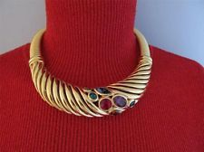 Givenchy Couture Chunky Jewel Modernist Rigid Choker Necklace Goldtone Vtg 531b