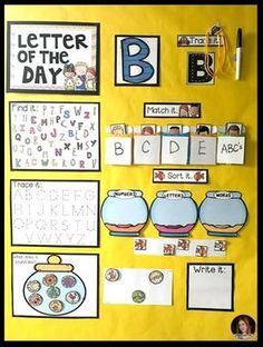 Letter of the Day Calendar Companion~Large Group Alphabet Activities for Preschool and Kindergarten - Kindergarten Rocks Resources Kindergarten Rocks, Preschool Literacy, Preschool Letters, Kindergarten Activities, Preschool Activities, Educational Activities, Preschool Classroom Jobs, Kindergarten First Week, Preschool Quotes