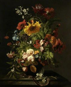 Flowers in a Crystal Vase Standing on a Stone Pedestal w/Dragonfly, nd, Abraham Mignon, American Encounters: The Small Pleasures of Still Life Exhibit Art Floral, Dutch Still Life, Baroque Painting, Louvre Paris, Merian, Crystal Vase, Crystal Decanter, Red Poppies, Floral Bouquets