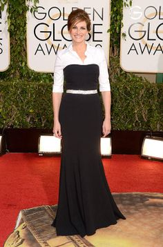 Julia Roberts looked sophisticated in a black and white Dolce & Gabbana gown with shirt underneath.
