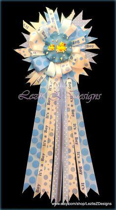 Rubber Ducky Bubbles Theme Baby Shower Corsage Pin Keepsake - Mom to Be Cold Porcelain Favor Blue White Polka Dot Ribbon Baby Boy Capia Mumby LezlieZDesigns (Diy Birthday Sash) Baby Shower Fun, Baby Shower Themes, Baby Showers, Shower Ideas, Birthday Gifts For Girlfriend, Mom Birthday Gift, Diy Birthday Sash, Baby Shower Coursage, Baby Corsage