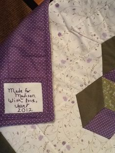 Made for Madison, my tumbling block quilt. May 2012