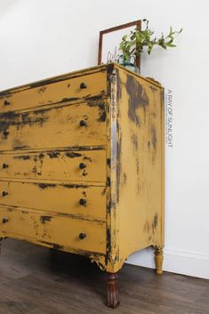 How to Paint a DIY Chippy Painted Dresser. A super easy way to makeover your thrift finds for a farmhouse style, old distressed style. This mustard yellow bedroom DIY uses natural milk paint powder and very little sanding. By A Ray of Sunlight Yellow Painted Furniture, Painted Bedroom Furniture, Refurbished Furniture, Cool Furniture, Furniture Ideas, Antique Furniture, Modern Furniture, Furniture Design, Country Furniture