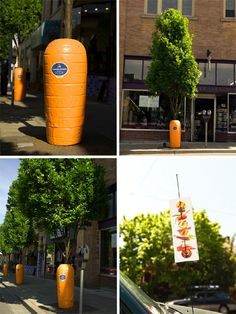With the simple addition of ridged orange containers, six tall and thin trees in Portland were transformed instantly into carrots, luring passers-by to read the stickers – advertising a local farmer's market – and salivate over the thought of crisp, fresh produce. This installation was a subtle advertisement, but also added a sense of whimsy to an otherwise unremarkable urban street