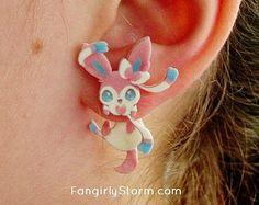 Sylveon Pokemon Clinging earrings Handmade kawaii gamer two part front and back post earrings