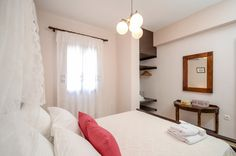 A rosy touch in our traditional white bedroom ! Double Bedroom, White Bedroom, Shower Cabin, Living Room With Fireplace, Sitting Area, Beautiful Islands, Ground Floor, Beautiful Gardens, Villa