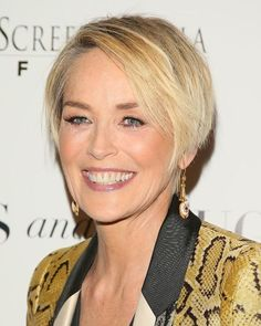 """15 Completely Chic Ways to Style Fine Hair: SHARON STONE: The longer pixie style works great for finer hair. """"The cut isn't too short, so you can still create a little extra volume at the roots,"""" says Hill. Use a texturizing balm like Rene Furterer's Vegetal Style Modeling Paste ($26) to enhance movement and dimension."""