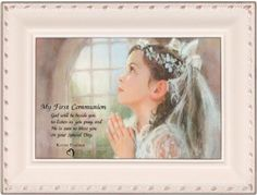 First Communion Girl Ivory Music Box Plays Ave Maria -- Click image to review more details.