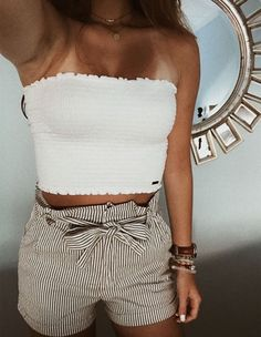 a2a7a4eac67 smocked white tube crop top with stripe belted high waist shorts