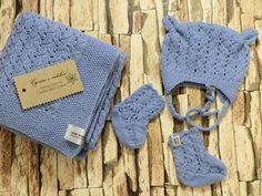 Купить Детский комплект на выписку новорожденного - голубой, плед для новорожденного, плед вязаный, плед детский