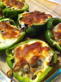 Philly Stuffed Peppers, super easy high protein low carb - I know that this is not vegetarian, but not everyone I know is so this might be a great buffet or pot luck dish!