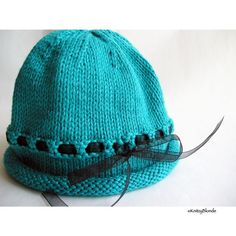 Cloche Hat Hand Knit Photo Prop Turquoise Cotton by KnitzyBlonde, $25.00  Very cute.  Love this color.