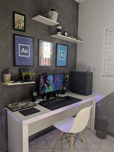 Pc Setup, Gaming Setup, Pc Gamer, Bedroom Setup, Home Office Setup, Work Spaces, Game Room, Corner Desk, Room Ideas