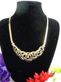 """Trifari Art Deco Style Vintage Goldtone Necklace with Black Enamel at the Bottom of the Necklace. 18"""" Price is $15.00. Free Shipping to the United States.  www.CCCsVintageJewelry.com This price for this necklace is the best you will ever find. It is a classic Art Deco Style Necklace. Best, Coco"""