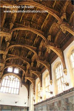 The Great Hall  Hampton Court Palace England.  The Great Hall features a carved hammer-beam roof.