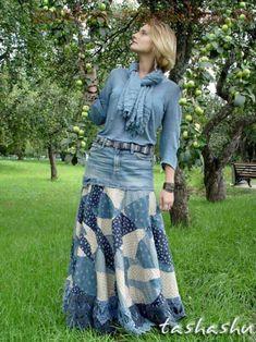 Мастер-класс по шитью: Юбка-бохо из старых джинсов