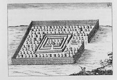 Kongo / Angola Town, engraving by Fortunato da Alemandini after a water color by Giovanni Cavazzi 1687. Giovanni Cavazzi was a Catholic missionary who worked in West Central Africa during the mid 17th century. While in Africa he did several watercolors of the peoples of Kongo and Angola. Engravings were made from his paintings by Fortunato da Alemandini to illustrate a book Cavazzi wrote about Africa. This book was first published in 1687.