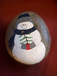 Snowman with pine tree painted on a stone