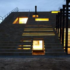 Stairs-House by y+M Design Office - family house in Japan, with a façade that forms a staircase to the roof