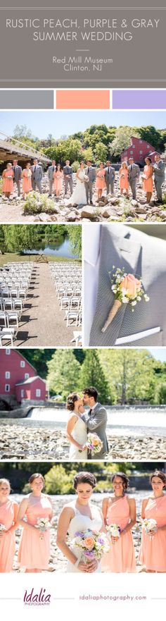 Rustic Peach, Purple, and Gray Wedding   Red Mill Museum   Clinton NJ Wedding Photographers