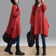Orange  Loose fitting Maxi dress  Linen dress   Cotton dress Cardigan skirt  Long  sleeve blouse -Spring, Autumn for Women C234 op Etsy, £48.65