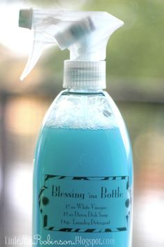 "Blessing In A Bottle...............12 oz. of White Vinegar, 12 oz. of Dawn Dish soap, 1 tsp. of Laundry Detergent also known as ""kitchen Magic"" This stuff will get through anything, make your sink and shower shine like new, and save you when just about nothing else works. The laundry detergent is optional-I add it simply to cover some of the vinegar smell!"