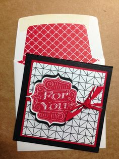 Stampin' Up! Tag Talk 3 X 3 card with lined envelope.