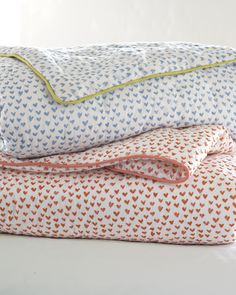 Heart Quilt & Sham from Serena & Lily in Nantucket Red or Cornflower.  Twin Duvet - $228.  Euro Sham - $78