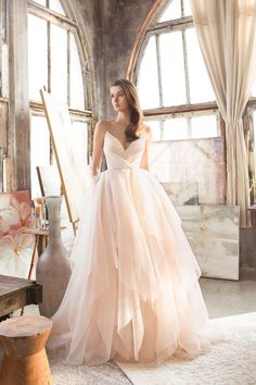 This blush gown from Tara Keely featuring an airy tulle skirt is utterly romantic! » Praise Wedding Community #weddinggowns