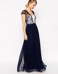 ASOS Scalloped Floral Lace Maxi Dress in Navy UK 10 -EU 38- US 6