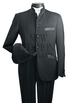 Vittorio St Angelo Men's 5 Button Mandarin Collar Suit