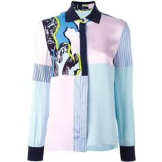 Versace 'Jagged Baroque' patchwork shirt (126760 DZD) ❤ liked on Polyvore featuring tops, pink, blue long sleeve top, button shirt, long sleeve tops, long sleeve button shirt and versace top