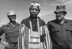 While campaigning for president, Mandela makes sure to stop and thank members of the South African Defense Forces for their support during South Africas first ever post-apartheid election in 1994. (Photo courtesy of Getty Images)