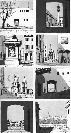 Personal Note: Comic Strip Viniettes Task Gordon Cullen: ciudad y movimiento… Architecture Sketchbook, Architecture Art, Art And Illustration, Gordon Cullen, Tachisme, Drawing Quotes, Hand Sketch, Urban Sketchers, Sketchbook Inspiration