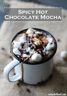 Coffee, cocoa, cinnamon, cayenne pepper and nutmeg come together in this delicious Spicy Hot Chocolate Mocha drink – PIN FOR LATER.