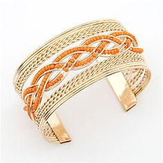 Alloy+Extra-wide+Bead+Twisted+Opening+Bracelet(Assorted+Colors)+–+USD+$+5.99