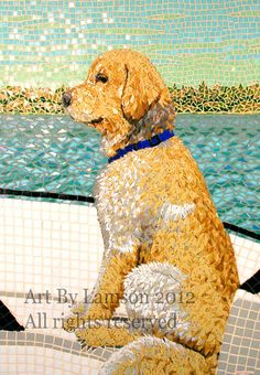 Fine art giclee print of an original glass mosaic of our golden retriever Tanner on a boat.