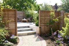 Create Secluded Areas with Wooden Garden Screening House Redesign, Slatted Fence Panels, House Exterior, Garden Sofa, Wooden Garden, Screened In Patio, Garden Seating, Garden Sitting Areas, Garden Design
