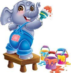 Cute Elephant Pictures, Elephant Cartoon Images, Cute Pictures, Happy Elephant, Elephant Love, Elephant Art, Giraffe, Elefant Clipart, Painting For Kids