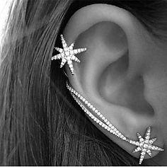 a0c8550385db Mujer Cristal Puños del oído Pendiente Alpinistas Brillante Aretes Estrella damas  Vintage Fiesta Trabajo Casual Estilo Simple Joyas Pantalla de color Para ...