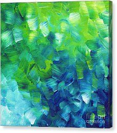 Lime Green Canvas Print featuring the painting Abstract Art Original Textured Soothing Painting Sea Of Whimsy I By Madart by Megan Duncanson