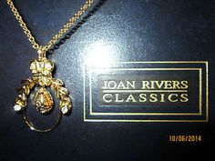 Joan Rivers Gold and Swarovski Crystal Hanging Egg Necklace Near Mint