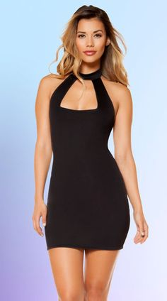 This sexy mini dress features a high neck, an open neckline panel, lightly lined cups, and a curve hugging skirt. Eye-Catching High Neck Dress, High Neck Mini Dress, Form Fitting Mini Dress