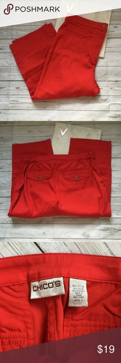 chicos womens 1 (small 6) red crop pants nautical gently used with no flaws  great for the fourth of july and memorial day  cropped red pants   waist = 15 inches  inseam = 19 inches Chico's Pants Capris
