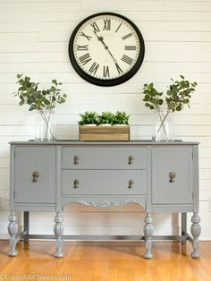 A Sweet Little Farmhouse Style Gray Buffet Makeover for our dining room. This little gray buffet looks perfectly adorable against our freshly painted white wood wall. I didn't use chalk paint on this piece, find out what I used! Dining Room Design, Dining Room Decor, Decor, Farmhouse Dining, Dining Room Remodel, Buffet Decor, Small Dining, Buffet Table, Buffet Makeover
