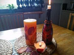 A nice idea to pimp autumnal decorative candles. The material in this craft can be found in nature. I used aronia leaves. The colors are yellow and red like a f…